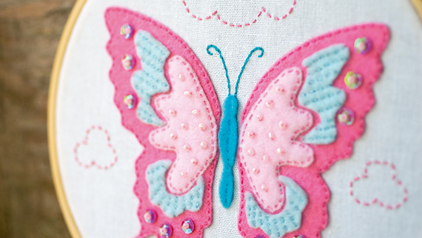 Craft kit with felt butterfly