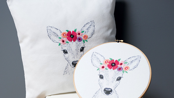 Embroidery Deer with flowers