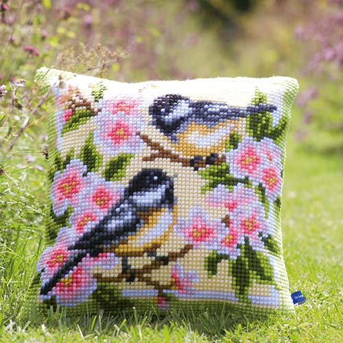 Cross stitch cushion kit Birds and blossoms PN-0143499
