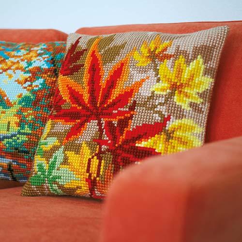 Cross stitch cushion kit Autumn leaves PN-0157754
