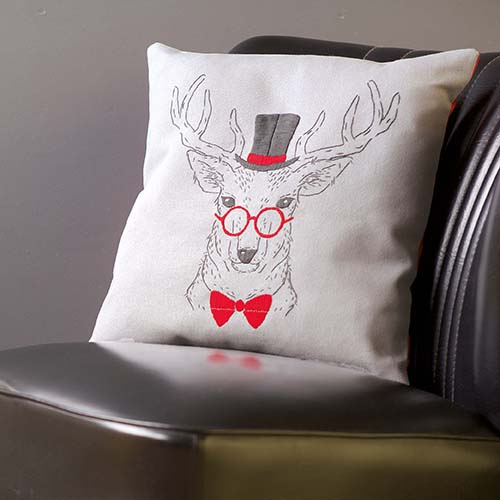 Embroidery cushion kit Deer with red glasses PN-0156051