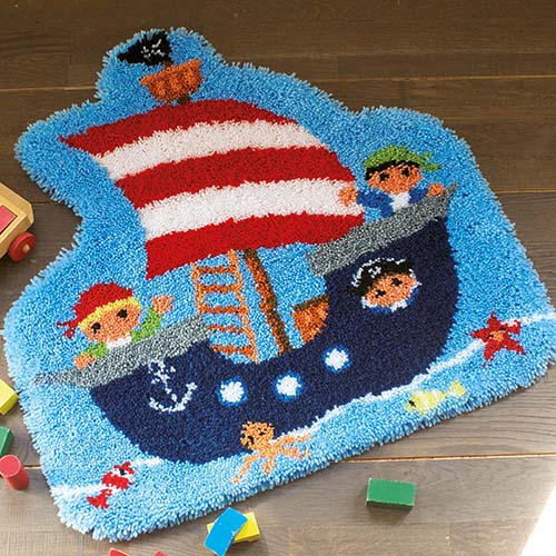 Latch hook shaped rug kit Pirate ship PN-0157787
